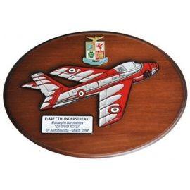 CREST ARALDICO AEREI F-84F THUNDERSTREAK DIAVOLI ROSSI GHEDI 1957 AERONAUTICA MILITARE MIS CM 22,5 X 17,5