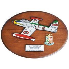 CREST ARALDICO AEREI F-84G THUNDERJET TIGRI BIANCHE ISTRANA 1956 AERONAUTICA MILITARE MIS CM 22,5 X 17,5