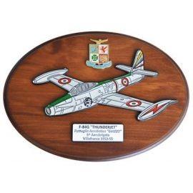 CREST ARALDICO AEREI F-84G THUNDERJET GUIZZO VILLAFRANCA 1953-55 AERONAUTICA MILITARE MIS CM 22,5 X 17,5