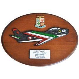 CREST ARALDICO AEREI F-86E SABRE LANCERI NERI CAMERI 1958-59 AERONAUTICA MILITARE MIS CM 22,5 X 17,5