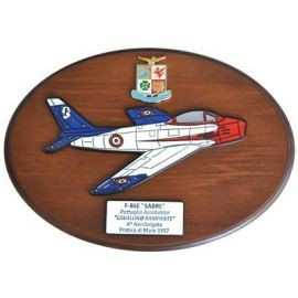 CREST ARALDICO AEREI F-86E SABRE CAVALLINO RAMPANTE PRATICA DI MARE 1957 AERONAUTICA MILITARE MIS CM 22,5 X 17,5