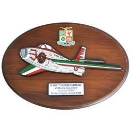 CREST ARALDICO AEREI F-84F THUNDERSTREAK DIAVOLI ROSSI GHEDI 1958 AERONAUTICA MILITARE MIS CM 22,5 X 17,5