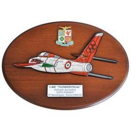 CREST ARALDICO AEREI F-84F THUNDERSTREAK GETTI TONANTI RIMINI 1959-60 AERONAUTICA MILITARE MIS CM 22,5 X 17,5