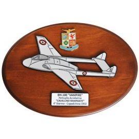 CREST ARALDICO AEREI DH.100 VAMPIRE CAVALLINO RAMPANTE CAPODICHINO 1952 AERONAUTICA MILITARE MIS CM 22,5 X 17,5